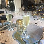Champagne while waiting to be checked-in
