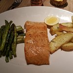 Salmon with potatoes and asparagus. Simple, satisfying.