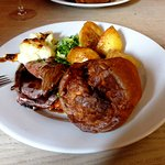 The Sunday lunch roast beef, Yorkshire Pudding, roast potatoes and veg