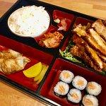 Bento box with katsu chicken.