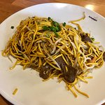 Stir fried beef with noodles.
