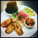 White Rice, Pickled Red Onions, Cuban Black Beans, Sweet Plantains, Avocado, Pico de Gallo