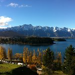 View over the reserve to Queenstown Bay, the gardens and across Lake Wakatipu to the Remarkables