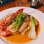 Butter fish with mashed potato and tiger prawn