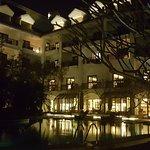 Main Bldg. near pool at night