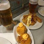 delicious but small patatas bravas. And octopus bombs/bombas de pulpo