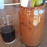 bloody mary served with espresso beer