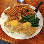 Broiled Fish with Waffle Fries and Salad