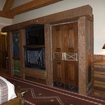 TV, Fireplace, Closet -- Interior Premier King Room, Big Cypress Lodge