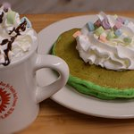 Lucky Charms Pancakes and Hot Chocolate