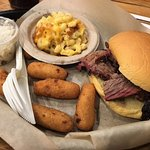 Brisket, hushpuppies, mac & cheese, coleslaw. Wish you could see the glow on my face after one b