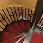 Spiral staircase to bathroom: William Winde Suite