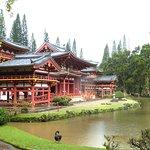 Temple and koi pond