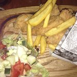 Fish and chips, with a green salad instead of tartar sauce.