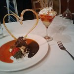 Dessert with a candy heart the owner/chef had made special for us, as he knew it was our anniver