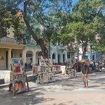 Paseo del Prado with the art market on Saturday