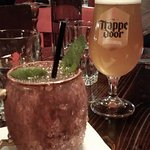 Moscow mule with house-made ginger beer and Belgian beer