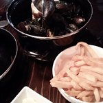 Moules et frite with flavored mayonaise, Belgian-style