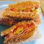 One of our customer favs - Ham, Avocado, Tomato, Mustard & Mayo on fresh locally made bread, yum