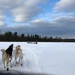 Crossing the lake - headed toward our yurt!