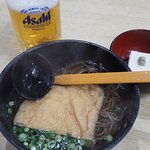 soba noodles, goma dofu, and draft beer