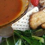 Chicken salad, soup & salad combo