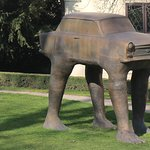 Statue of Trabant at the German Embassy garden by David Cerny sculptor