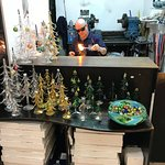 Glass artisans busy at work creating masterpieces for Christmas decorations and souvenirs !