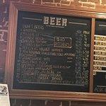 Beer menu close-up