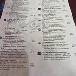 Table beer menu with descriptions