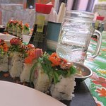 Sushi roll with fresh aji tuna