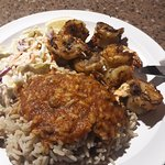 grilled shrim,rice and coleslaw