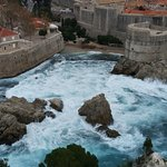What a view! The sea rages beneath the ancient city walls of Dubrovnik.