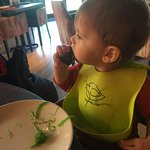 My 1 year old son enjoying a sushi roll and seaweed salad at Sushimania! Yum yum!