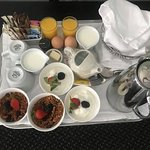 Breakfast for 2 delivered to our room. Yogurt, homemade granola, hard boiled eggs and biscuits.