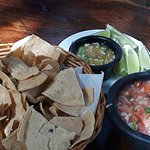 Complimentary pico de gallo and chips