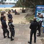Practicing our dive briefings at Shelly Beach