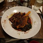 Lamb Shank after I got into it! Very Good Sauce