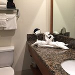 Cute towel folding in bathroom