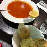 Tomato soup with garlic bread