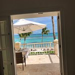 View from room looking out to our patio and the Caribbean Sea