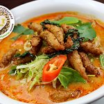 Veggie Lemongrass 'Chicken' Soup with Vermicelli Thin Rice Noodles (Tom Yum Soup base)