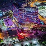 Colors illuminate the skyline with LED lights surrounding the hotel