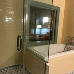 Jet tub with pocket doors that open into the sleeping area