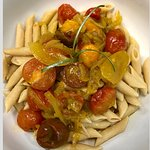 chickpea pasta with yellow curry and roasted heirloom tomatoes