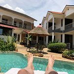 view of the hotel rooms from the pool-side
