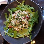 Quinoa, pomegranate & soft herb salad