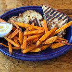 Made to Order melted sandwich with sweet potato fries