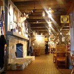 Cracker Barrel interior with fireplace
