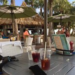 Relaxing beachside table at Salty's.